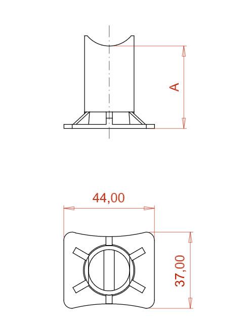 Desenho Técnico Apoio para cordoalha