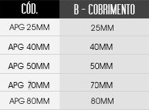 tabela de tamanhos do espaçador / distanciador APOIO PISO GARRA